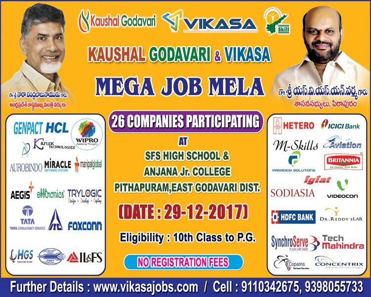 Vikasa - Mega Job Mela On 29th December 2017 At Pithapuram - Apply Online / Download Registration Form Here.