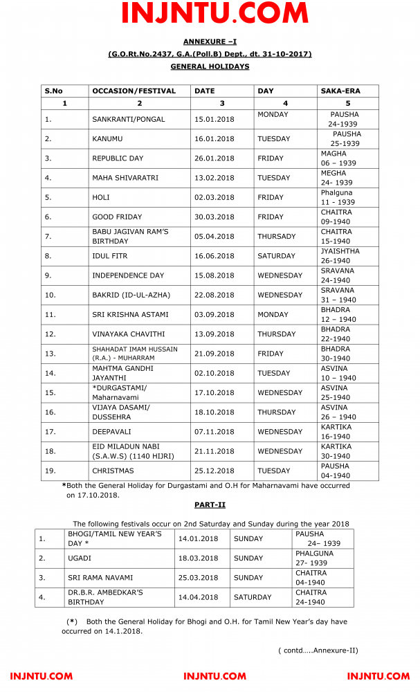 JNTUK General Holidays & Optional Holidays List 2018.