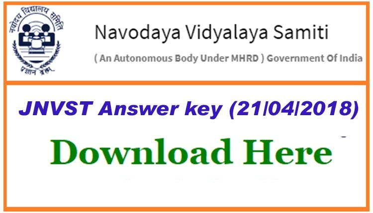jnvst answer key 2018 download here