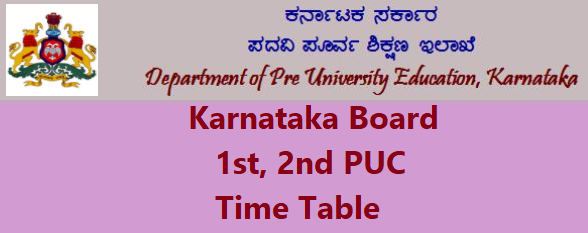 2nd Puc Time Table 2016 Pdf