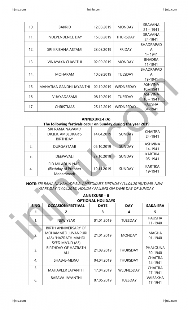 Andhra Pradesh State General Holidays and Optional Holidays-2019