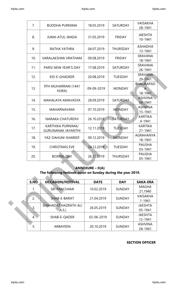 Andhra Pradesh State General Holidays and Optional Holidays-2019