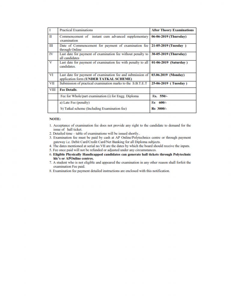 AP SBTET Diploma Instant cum Advance Supply Exam Notification 2019